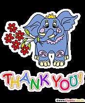Thank you T-Shirt Design mit blauem Elefant und Blumen