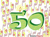 Wünsche zum 50. Geburtstag - Karte, Clipart, Bild