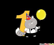 Colorato numero 1 (numero uno) per una festa di compleanno per bambini children