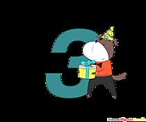 Colorato numero 3 (numero tre) per il compleanno
