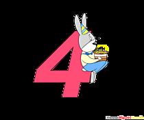 Numero colorato 4 (numero quattro) come modello