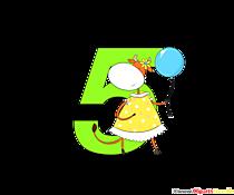 Numero colorato 5 (numero cinque) per clipart della scuola elementare