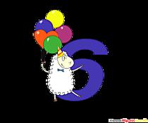 Colorato numero 6 (numero sei) con palloncini per il compleanno