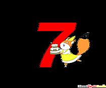 Numero colorato 7 (numero sette) con immagine della torta di compleanno