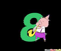 Numero colorato 8 (numero otto) con maialini per la stampa