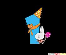 Cartoon numero 1 (uno) per il modello di compleanno del bambino