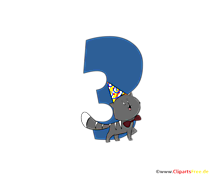 Cartoon numero 3 (tre) compleanno clipart