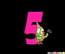 Cartoon numero 5 (cinque) divertenti modelli di compleanno