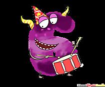 Monster Clipart 6 (Șase) Personaj de desene animate cu tobă la petrecerea de ziua de naștere
