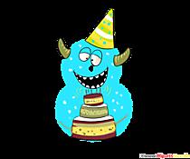 Monster clipart 8 (numărul opt) personaje amuzante pentru ziua de naștere