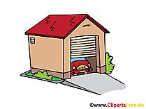 Garage mit Auto Bild, Clipart, Illustration, Grafik, Zeichnung kostenlos