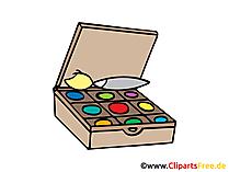 Farben zum Malen, Künstlerzubehör Bild, Clipart, Illustration