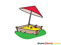 Sandkasten mit Dach Bild, Clipart, Illustration, Grafik, Zeichnung kostenlos