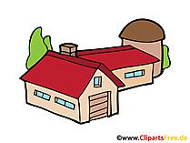 農場の納屋イメージ、クリップアート、無料イラスト