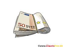 ラバーバンドクリップアート、写真、イラストの下の50ユーロの銀行券