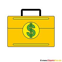 スーツケースの中のクリップアートのお金