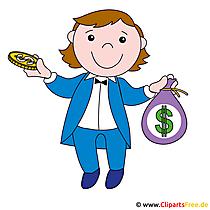 Clipart mensen gratis - Makelaar met geld
