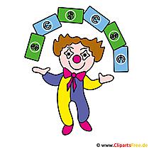 Clown und Geld Clipart kostenlos