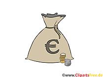 Money bag, med, eurotegn, utklipp, grafikk, illustrasjon