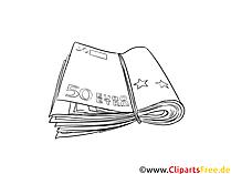 ゴムの絵、白黒のクリップアートが付いた紙幣