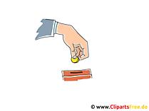 Munt invoegen in spaarvarken clipart