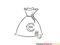 お金の袋ユーロサインクリップアート