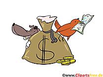 Veel geldbeeld, Illustraties, Cartoon