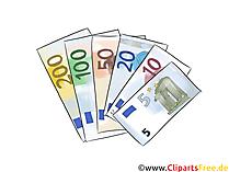 たくさんの紙幣5、10、20、50、100、200ユーロのクリップアート