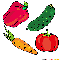 Gemüse - Tomate, Gurke, Paprika, Moehre Cliparts