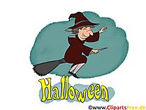 Bild Hexe mit Besen - Cliparts, Bilder, Grusskarten, Vorlagen für Einladungen zu Halloween
