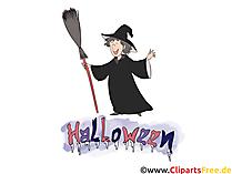 Clipart Halloween mit Hexe - Bilder, Grusskarten, Vorlagen für Einladungen 31 Oktober