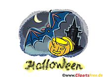 Fledermaus zu Halloween - Cliparts, Bilder, Grusskarten, Vorlagen für Einladungen