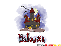 不気味な城 - ハロウィーンのためのイラスト、写真、グラフィック、クリップアート、漫画、漫画