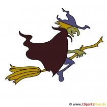 Hexe auf Besen Bild-Clipart