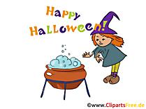 魔女のやかんクリップアート、画像、ハロウィーンの漫画