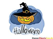 Kürbis zu Halloween Grusskarte, Gruss, Clipart, Bild, Grafik, Illustration kostenlos