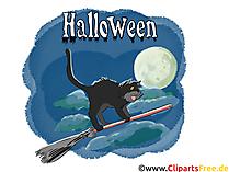 ほうきで黒猫 - ハロウィーンのためのイラスト、写真、グラフィック、クリップアート、漫画