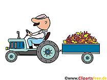 Bilder zum Ausdrucken kostenlos - Traktor mit Anhänger auf dem Feld