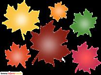Frunze de copac de toamnă colorate miniaturi, imagine, ilustrație