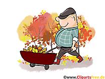 Cartoon man met kruiwagen - herfst Cliparts, foto's, cartoons, strips