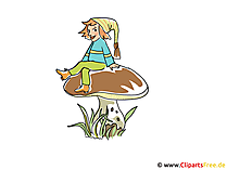 Gnom auf dem Pilz Bild, Clipart, Illustration, Cartoon