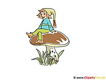 Gnoom op het paddestoelbeeld, klemkunst, illustratie, beeldverhaal