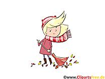Gratis grafisch meisje met bezem, wind, herfst