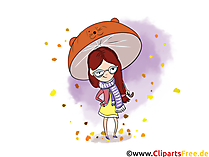 Grafiken kostenlos Mädchen unter dem Regenschirm im Herbst