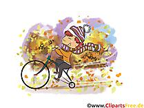 Herfstfoto's gratis - jongen rijdt op een fiets in het park
