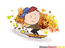 Grappige herfstbeelden - jongen berijdt skateboard