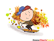 Herbst Bilder lustig - Junge fährt Skateboard