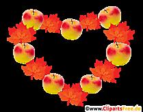 Mere și frunze galbene într-o coroană de toamnă PNG Clipart