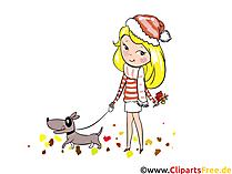 Het meisjes van de illustratie loopt met een hond