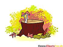 Paddestoelen op boomstomp Illustratie, grafisch beeld ,.